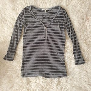Express Striped Zip Front Top